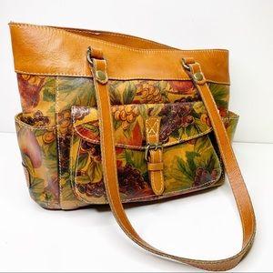 Patricia Nash fruit pattern leather shoulder bag